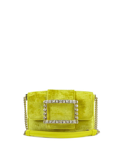 Tres Vivier Velvet Crystal Buckle Clutch Bag