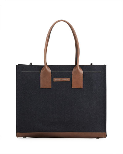 Structured Wool Flannel Tote Bag with Monili