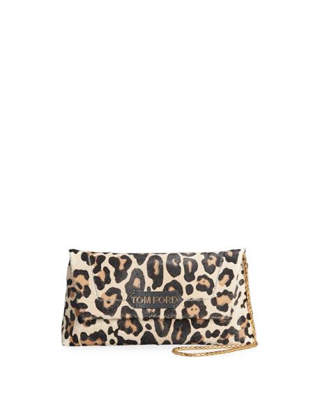 TOM FORD Label Small Leopard-Print Shoulder Bag
