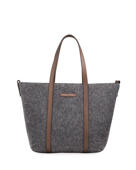 Brunello Cucinelli Textured Mohair & Leather Tote Bag