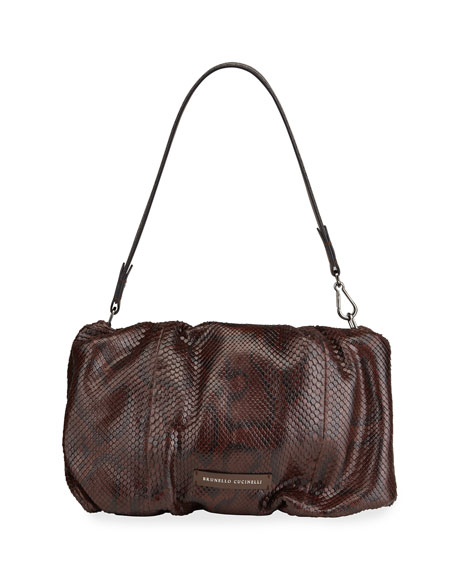 Brunello Cucinelli Python Deconstructed Pouchette Bag w/ Metallic Strap