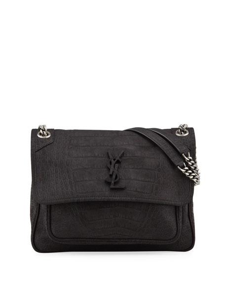 Saint Laurent Niki Medium Monogram YSL Croc Nubuck Shoulder Bag