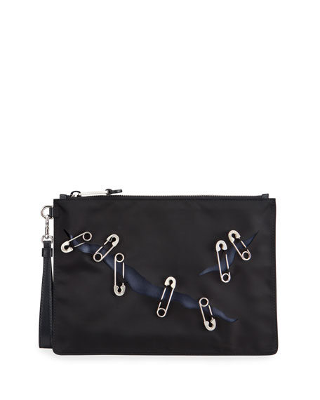 Moschino Men's Safety Pin Wristlet Pouch