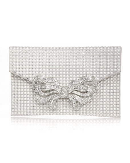 Judith Leiber Couture Crystal Bow Pearly Envelope Clutch Bag