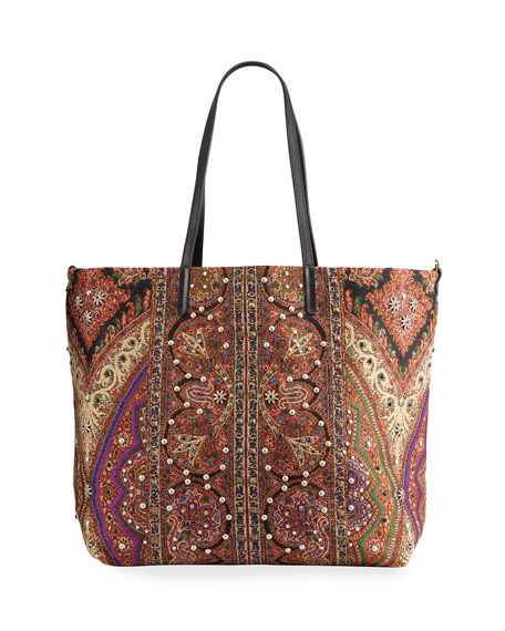 Etro Studded Printed-Fabric Reversible Tote Bag