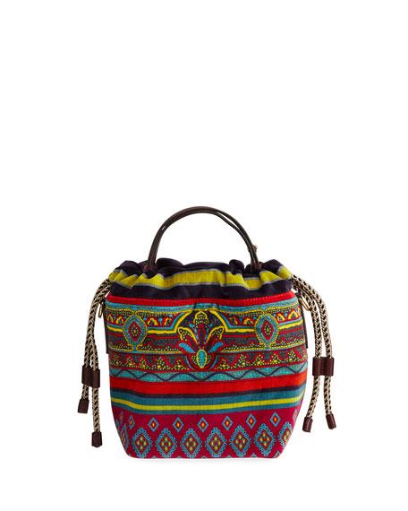 Etro Small Velvet Printed-Fabric Bucket Bag