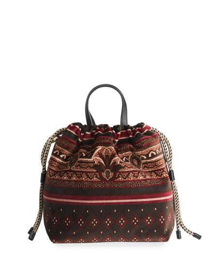 Etro Velvet Printed-Fabric Bucket Bag