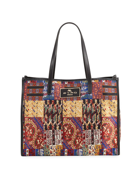 Etro XL Patchwork-Print Shopper Tote Bag
