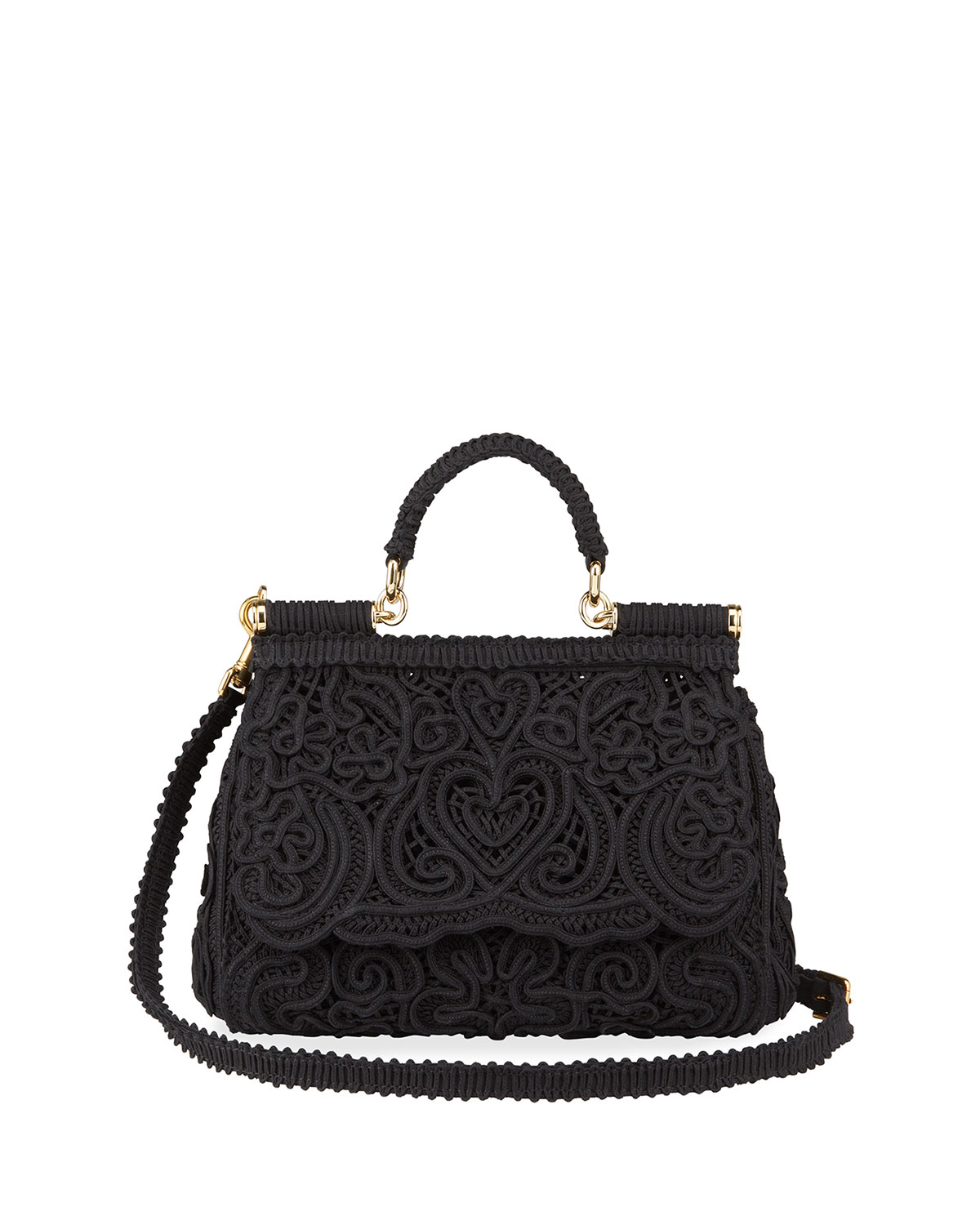 Dolce & Gabbana MISS SICILY MEDIUM LACE SATCHEL BAG