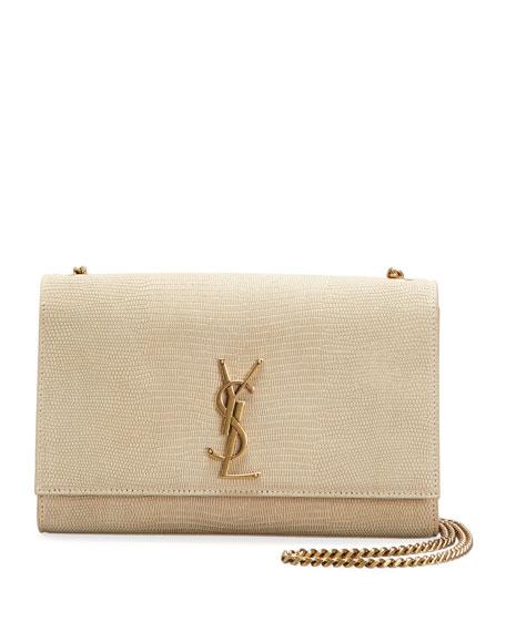 Saint Laurent Kate Monogram YSL Medium Lizard-Embossed Chain Crossbody Bag