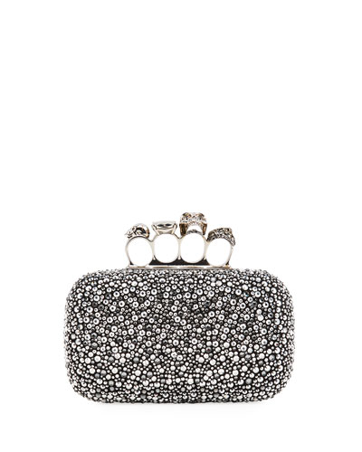 Crystal Studded Skull Four-Ring Clutch Bag
