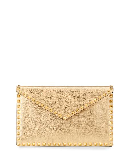 Valentino Garavani Metallic Rockstud Large Envelop Pouch Clutch Bag