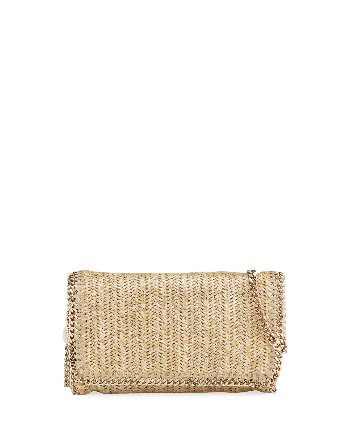 Stella Mccartney Clutch Metallic Falabella Clutch Bag In Gold