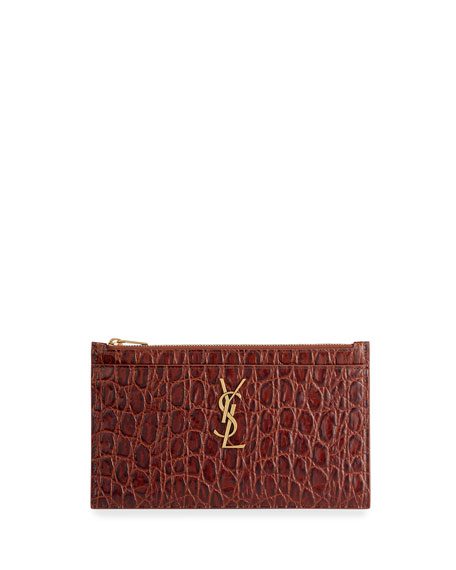 Saint Laurent YSL Monogram Croc-Embossed Zip Pouch Bag
