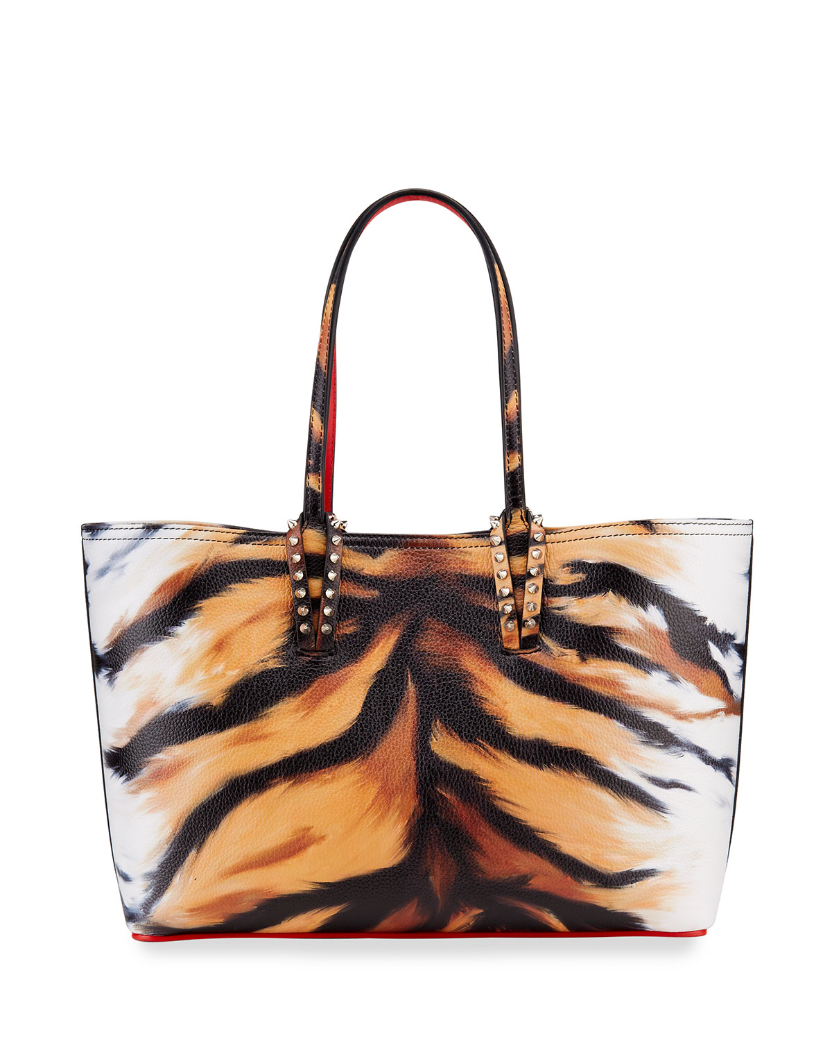 Christian Louboutin Leathers CABATA SMALL TIGER-PRINT SPIKED TOTE BAG