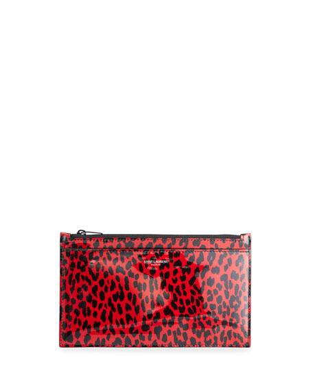 Saint Laurent Leopard-Print Patent Leather Zip Pouch Bag