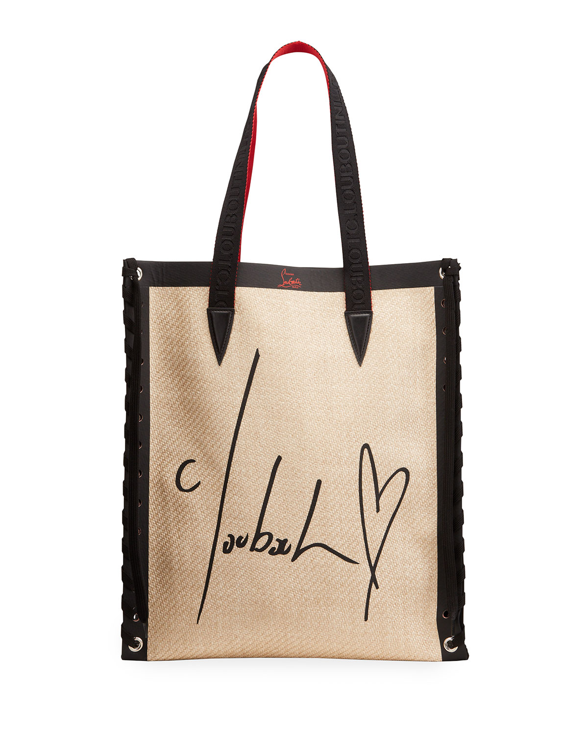 Christian Louboutin Canvases CABALACE STRAW ALL YOU NEED SMALL TOTE BAG