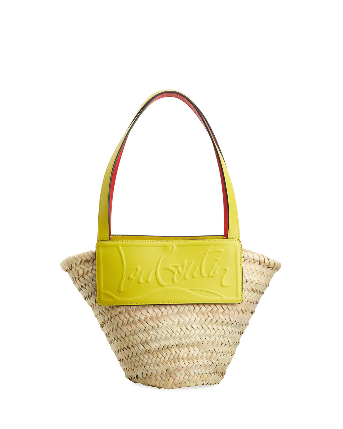 Christian Louboutin LOUBI SHORE SMALL WOVEN STRAW BEACH TOTE BAG