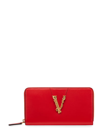 Versace Virtus Leather Barocco V Continental Wallet