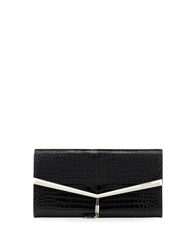 Elish Croc-Embossed Clutch Bag