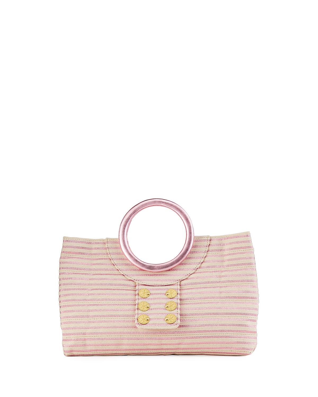 Perseo Metallic Ring-Handle Striped Tote Bag