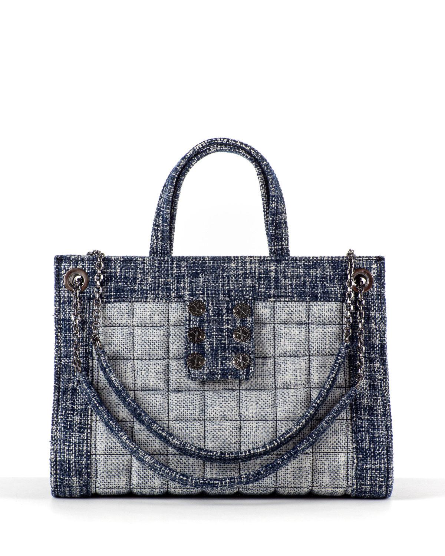 Tweed Shopper Tote Bag w/ Sliding Chain Strap