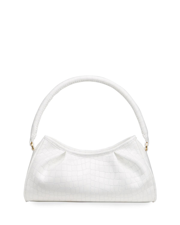Dimple Moc-Croc Pleated Shoulder Bag