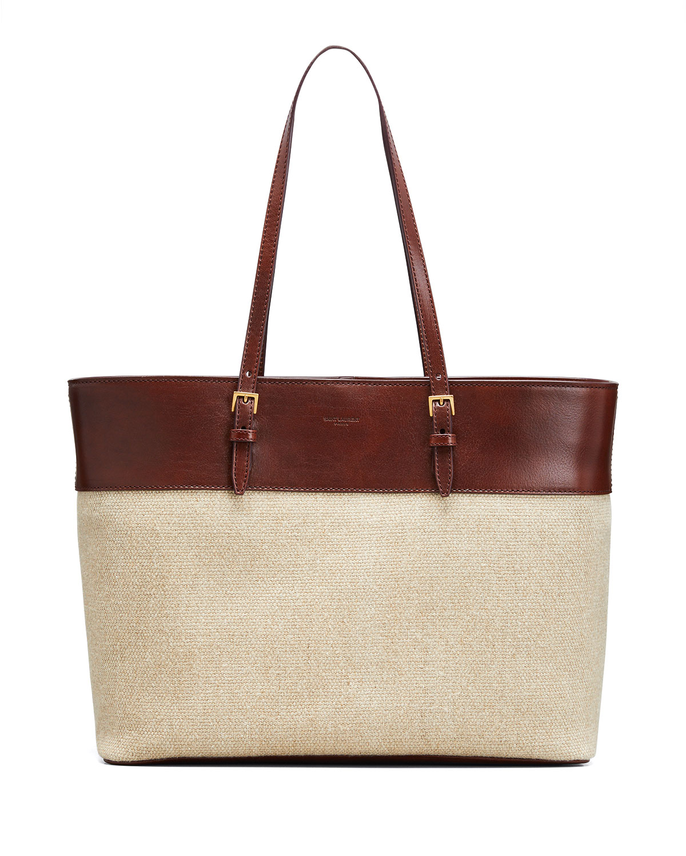 Bicolor Linen Shopper Tote Bag