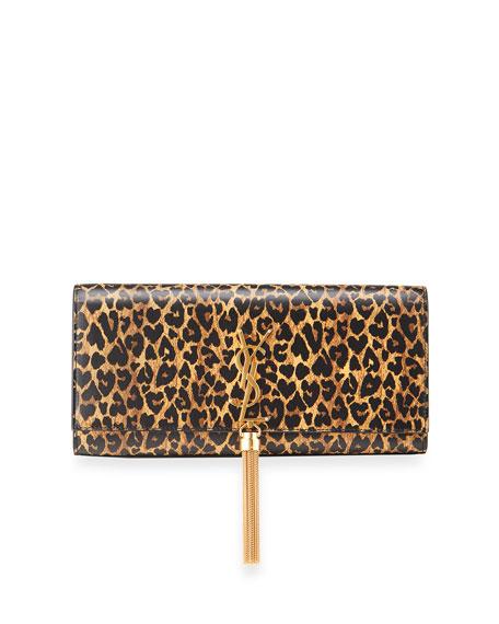 Saint Laurent Kate Leopard-Print Tassel Clutch