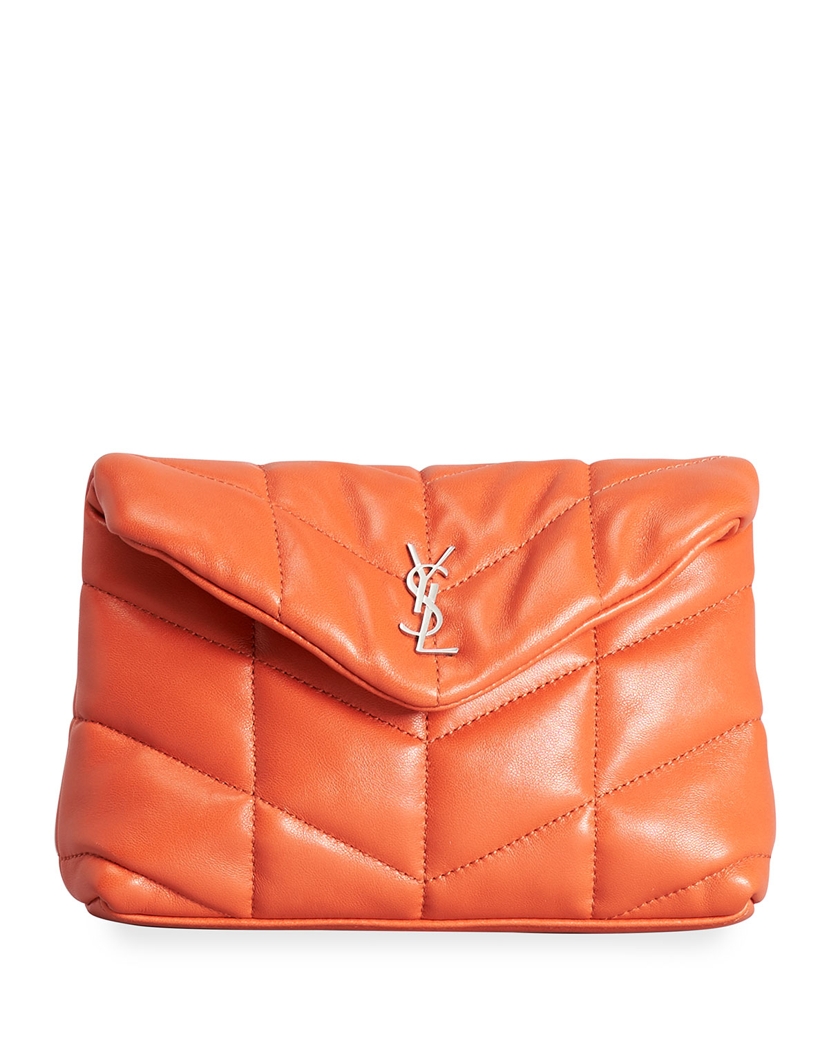 Saint Laurent Loulou Quilted Puffer Pouch Clutch Bag In 1000 Nero