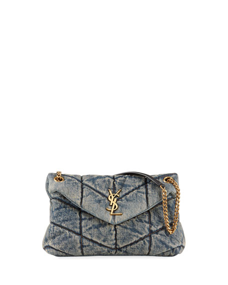 Saint Laurent LouLou YSL Small Quilted Denim Shoulder Bag