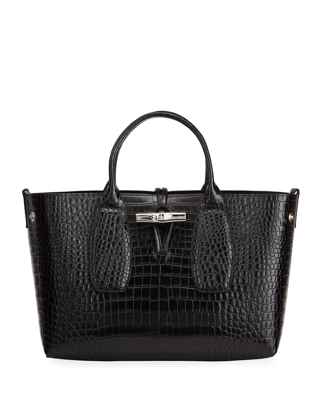 Roseau Croc-Embossed Top-Handle Tote Bag