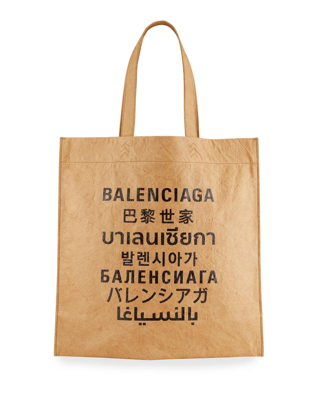 Balenciaga Totes LANGUAGE LOGO PRINTED SHOPPER TOTE BAG