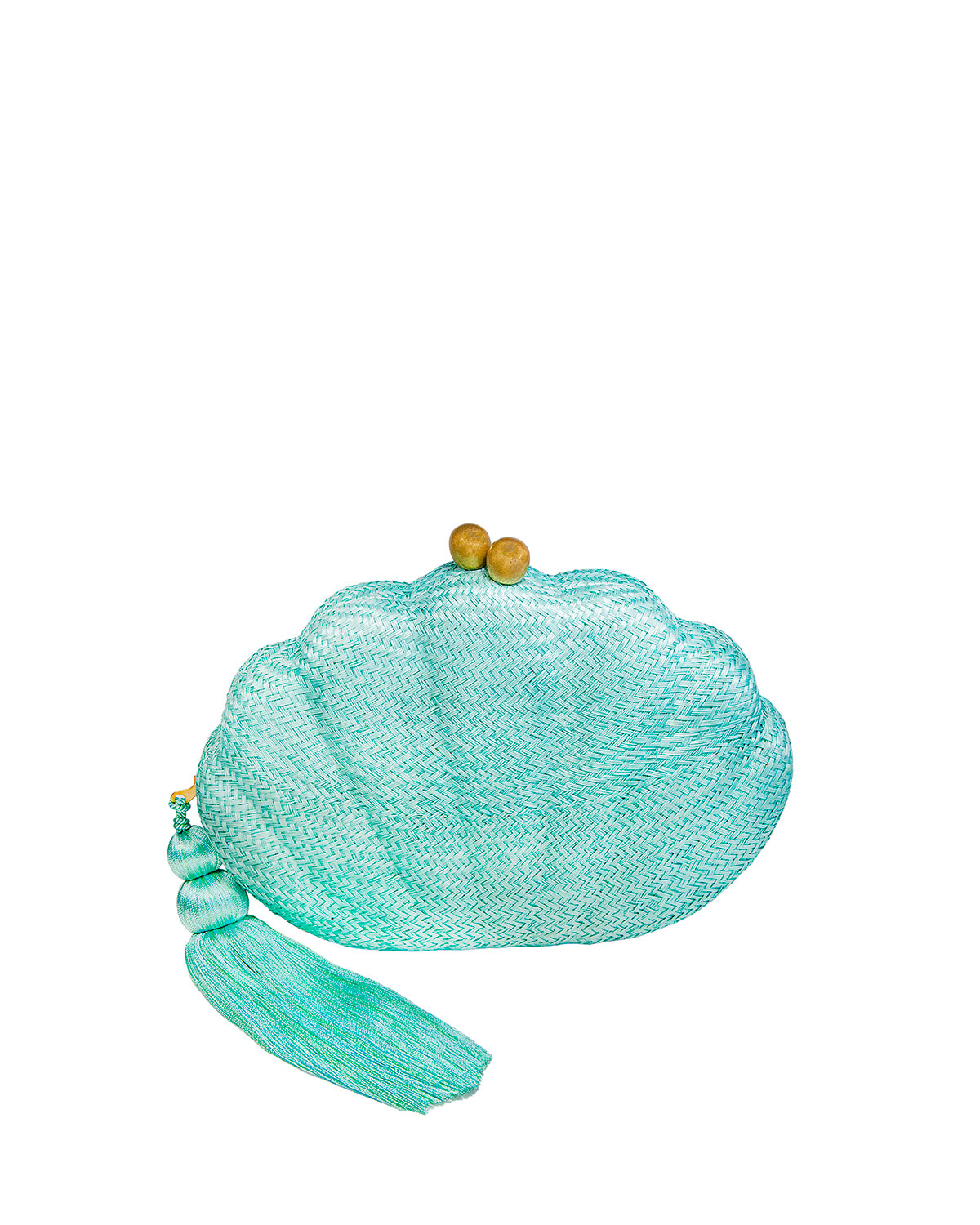 Rafe KATE SCALLOP SHELL TASSEL CLUTCH BAG, TURQUOISE
