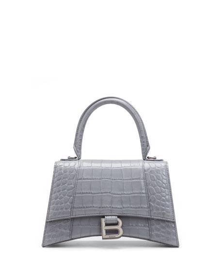 Balenciaga Hour Small Shiny Croc-Embossed Top-Handle Bag