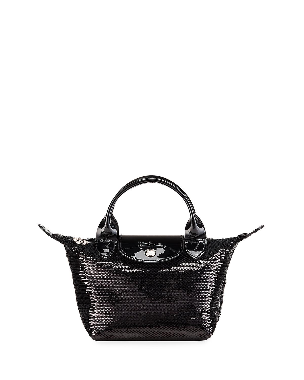 Le Pliage XS Sequin Handbag with Strap