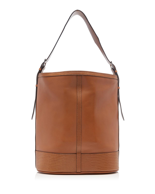 Smooth & Lizard-Embossed Leather Hobo Bag