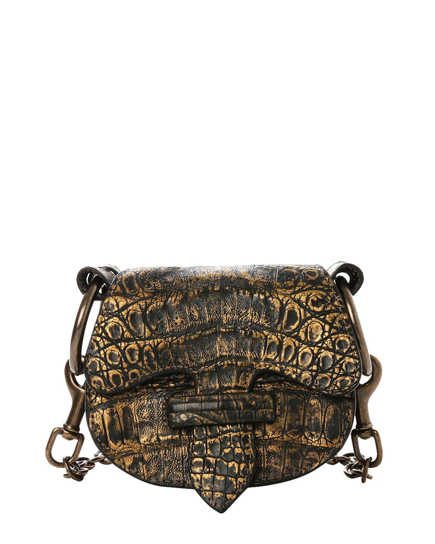 La Morenita Metallic Crocodile Saddle Crossbody Bag