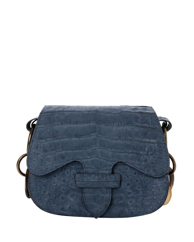 Monsieur Crocodile Saddle Shoulder Bag