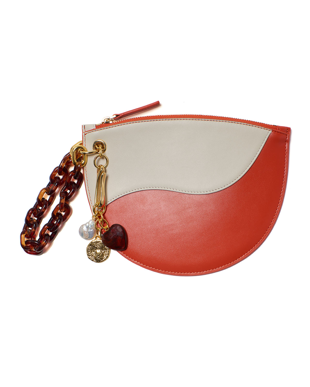 Small Crescent Leather Wristlet Clutch Bag