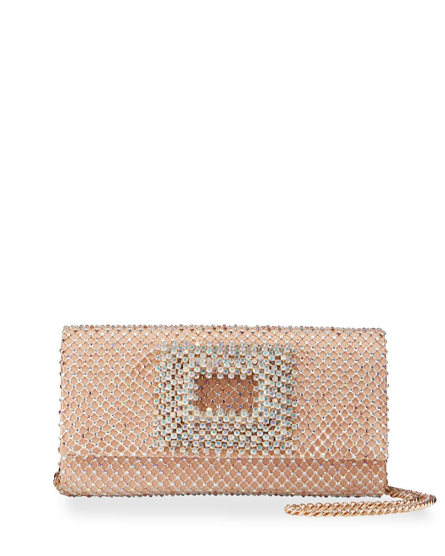 Bella Crystal Caged Satin Clutch Bag