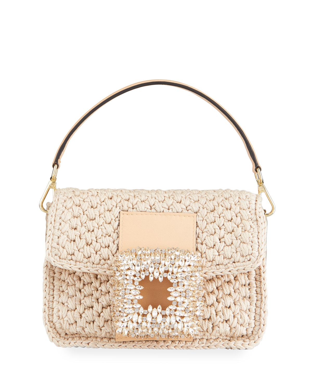 Mia Medium Crochet Crystal Top Handle Bag