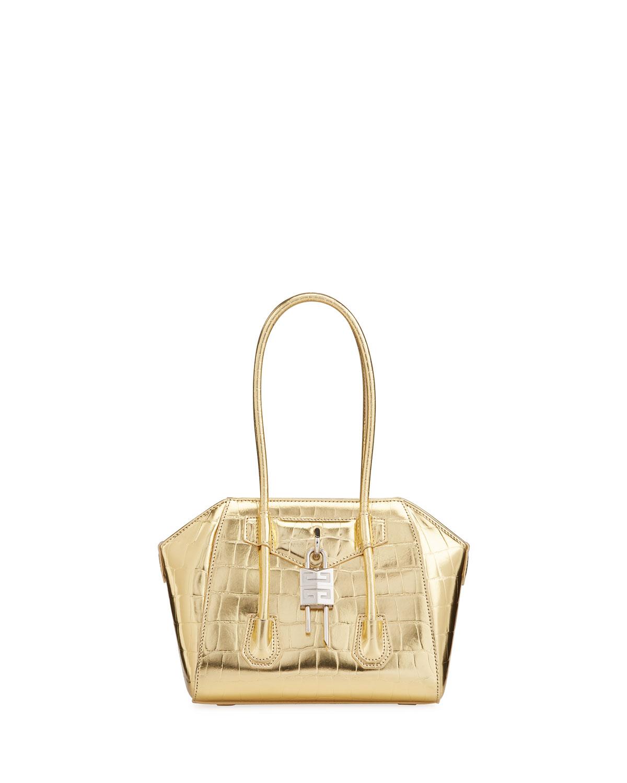 Givenchy Leathers MINI ANTIGONA LOCK SATCHEL BAG IN METALIZZED CROCODILE-EMBOSSED LEATHER