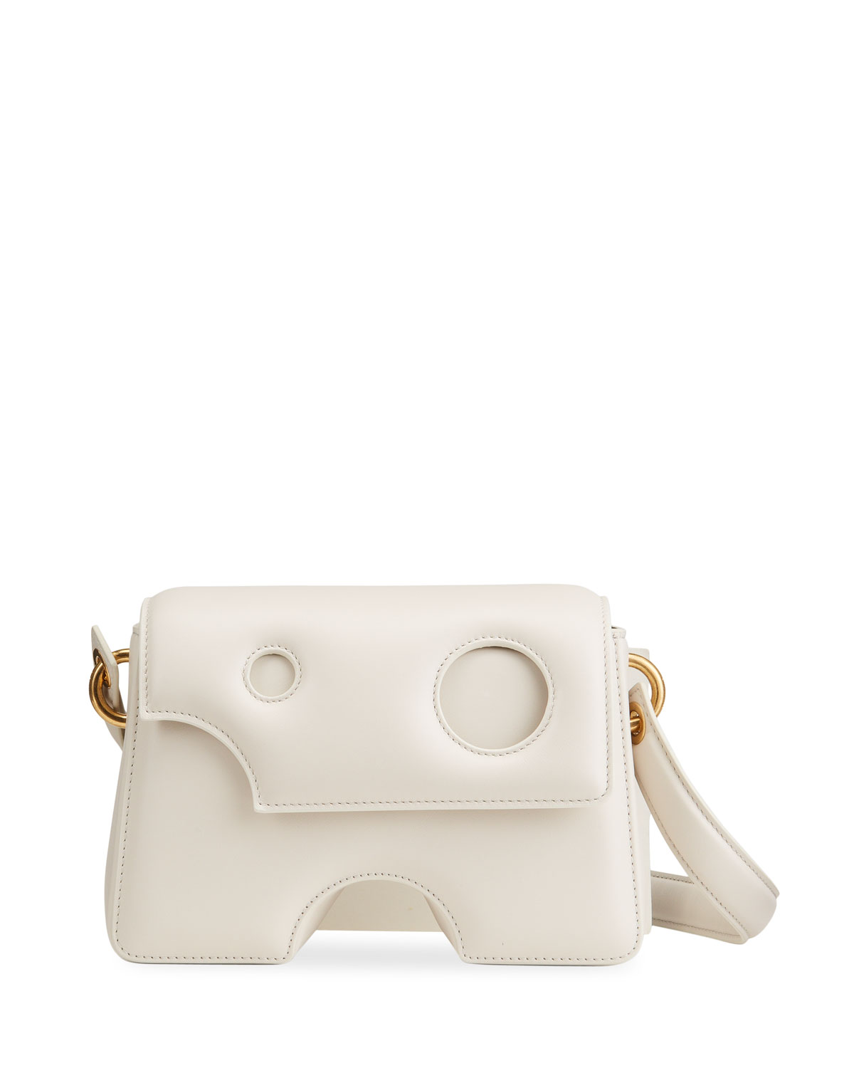 Off-White Leathers BURROW CUTOUT LEATHER SHOULDER BAG, OFF WHITE