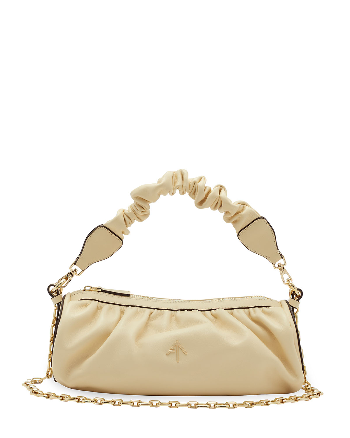 Cylinder Ruched Top Handle Crossbody Bag