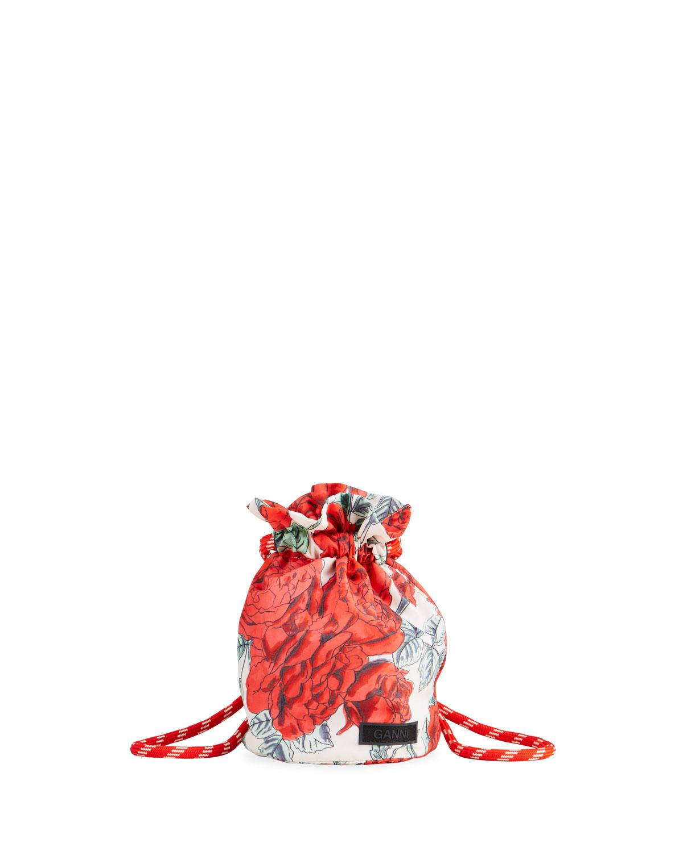 Ganni Bags ROSE-PRINT RECYCLED FABRIC DRAWSTRING SHOULDER BAG