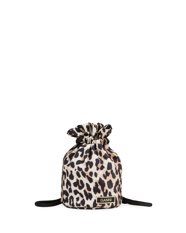 Ganni Bags LEOPARD-PRINT RECYCLED FABRIC BUCKET SHOULDER BAG