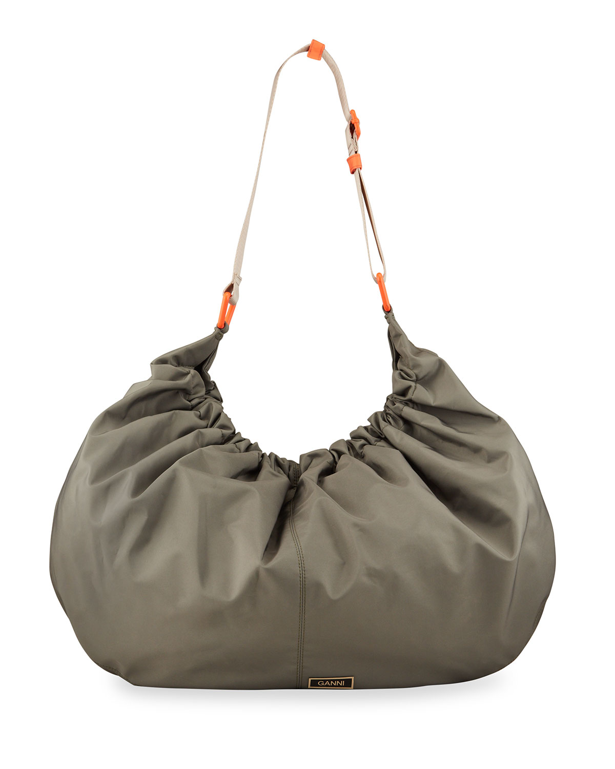 Ganni Hobo bags RUCHED XXL RECYCLED FABRIC HOBO SHOULDER BAG