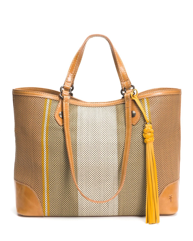 Melissa Striped Woven Shopper Tote Bag