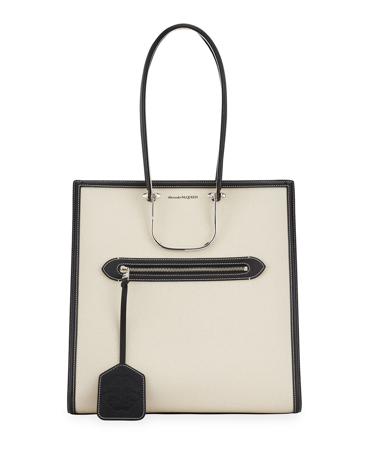 Alexander Mcqueen Leathers THE TALL STORY CANVAS/LEATHER TOTE BAG, WHITE